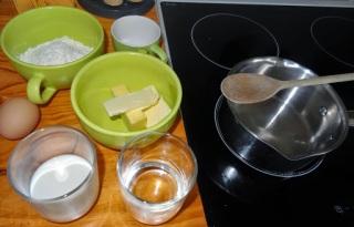 Ingrédients pâte à choux pour éclairs au Nutella