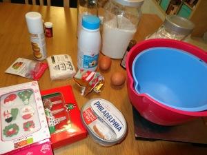 Ingrédients pour les cupcake de Noel