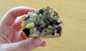 Muffin myrtille pignon de pin pamplemousse ouvert