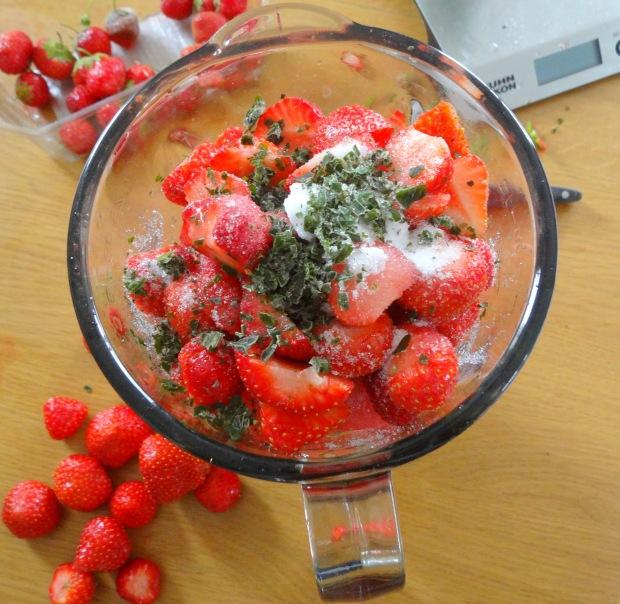 Gaspacho fraise pasthèque et baslic blender
