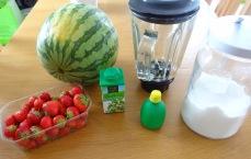 Gaspacho fraise pasthèque et baslic ingrédients