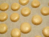 Macaron cerise et chocolat blanc coques cuites blanche