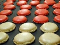 Macaron cerise et chocolat blanc coques cuites profil