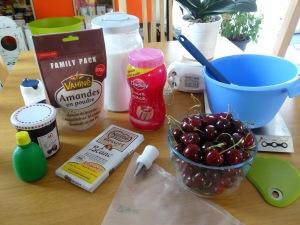 Macarrons cerise et chocolat blanc ingrédient