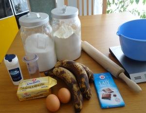 Tarte à la banane et au chocolat ingrédients